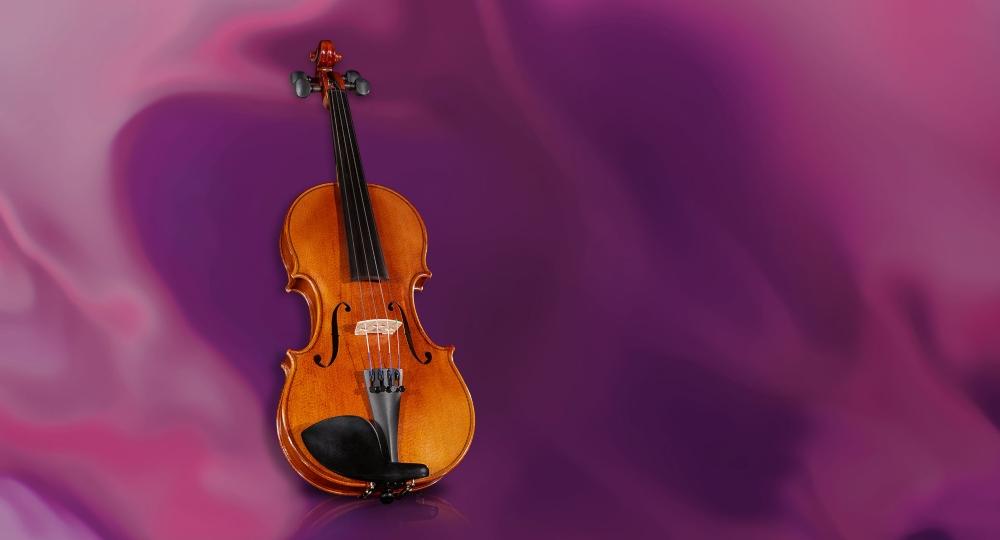 Violin on Purple Background