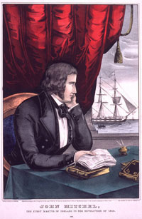 Illustration of John Mitchell looking out his window at tall ship