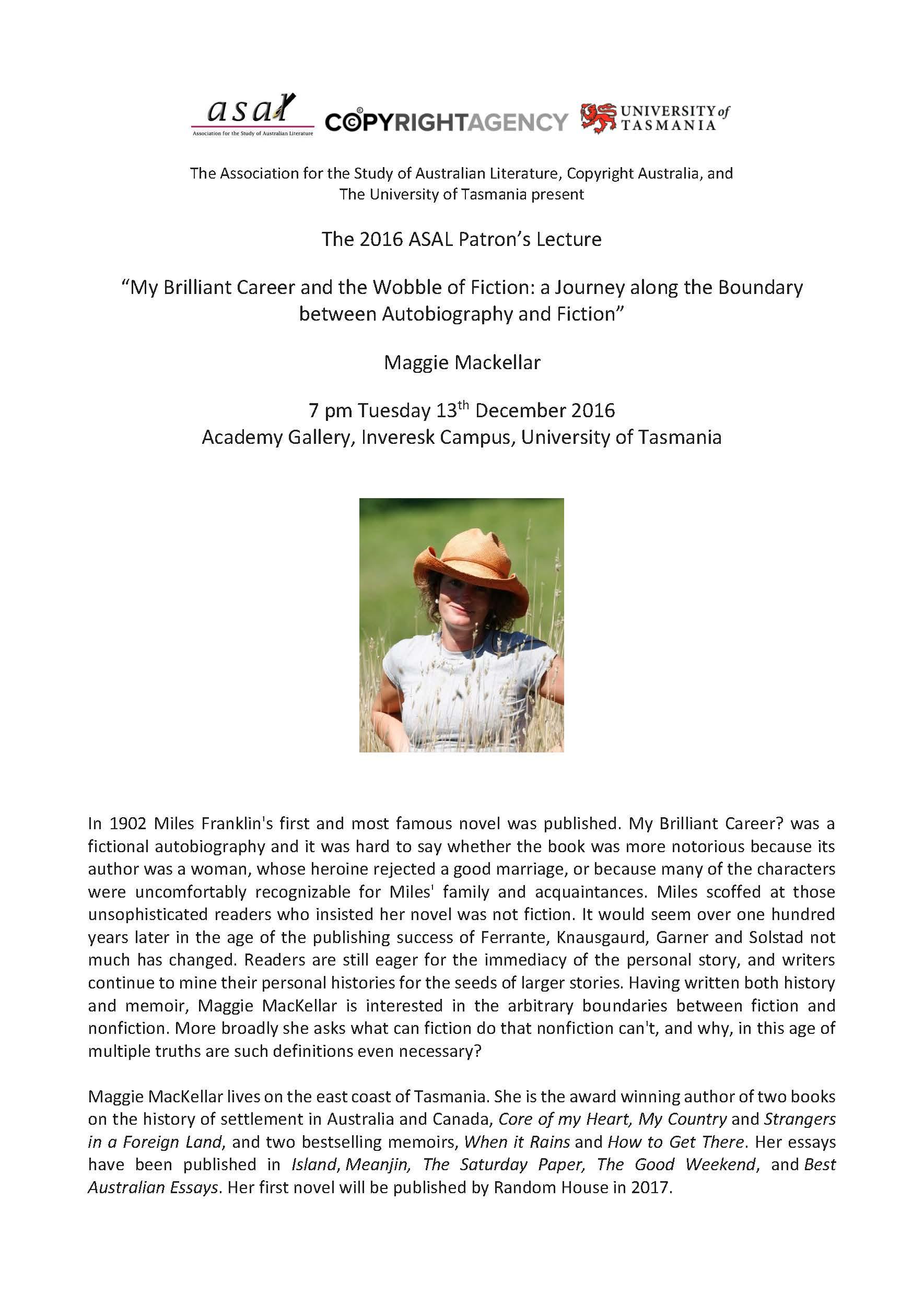 Mackellar ASAL Lecture Poster