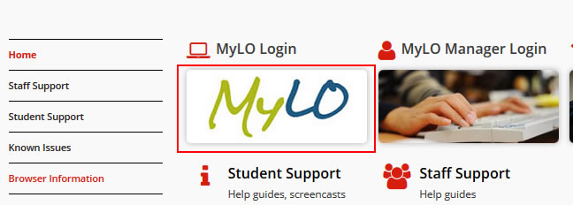 Press on the MyLO image to open up the authentication portal