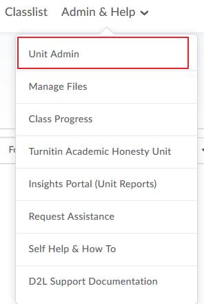 Select Unit Admin
