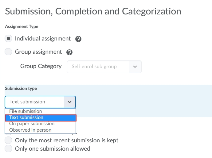 Choose text Submission file type