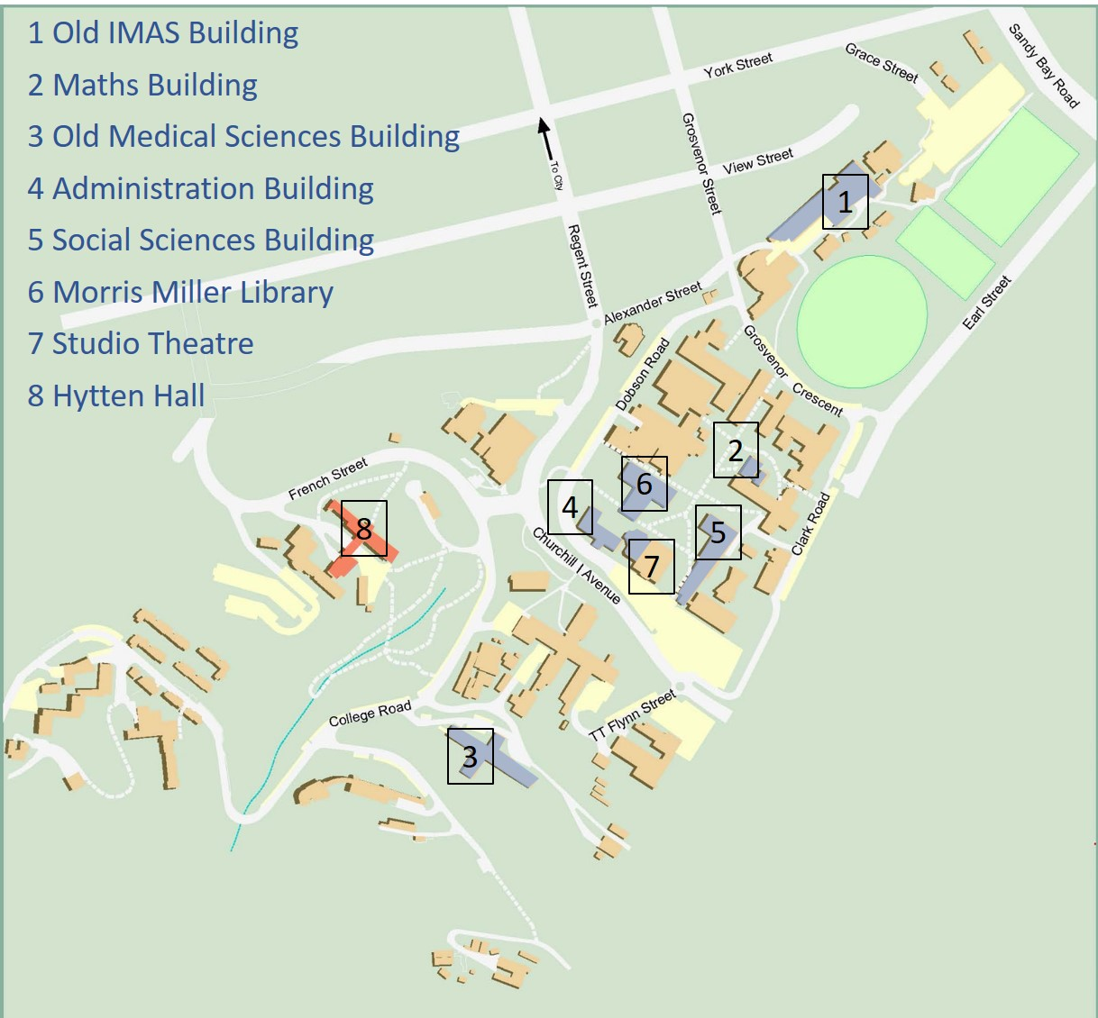 Map showing location of buildings mentioned on this web page