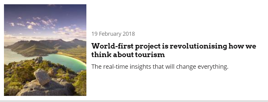 World-first project is revolutionising how we think about tourism, 19 February 2018