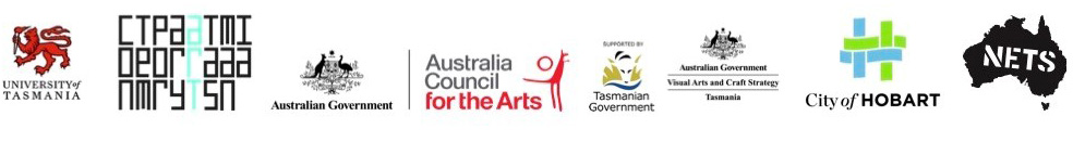 Systematic supported by logos - UTAS, Contemporary Arts Tasmania, Australian Government - Australia Council for the Art, Tasmanian Government, Australian Government - Visual Arts and Crafts Strategy Tasmania, City of Hobart and NETS