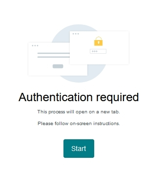 Press start to authenticate