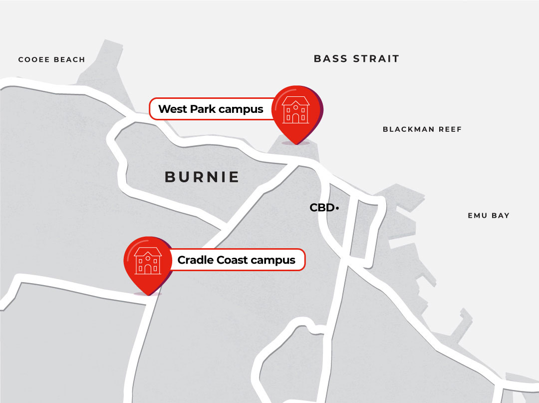 Map showing locations of Burnie campuses