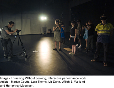Martyn Coutts and Luke Smiles Art Forum - Image: Thrashing Without Looking, Interactive performance work Artists - Martyn Coutts, Lara Thoms, Liz Dunn, Willoh S. Weiland and Humphrey Meecham
