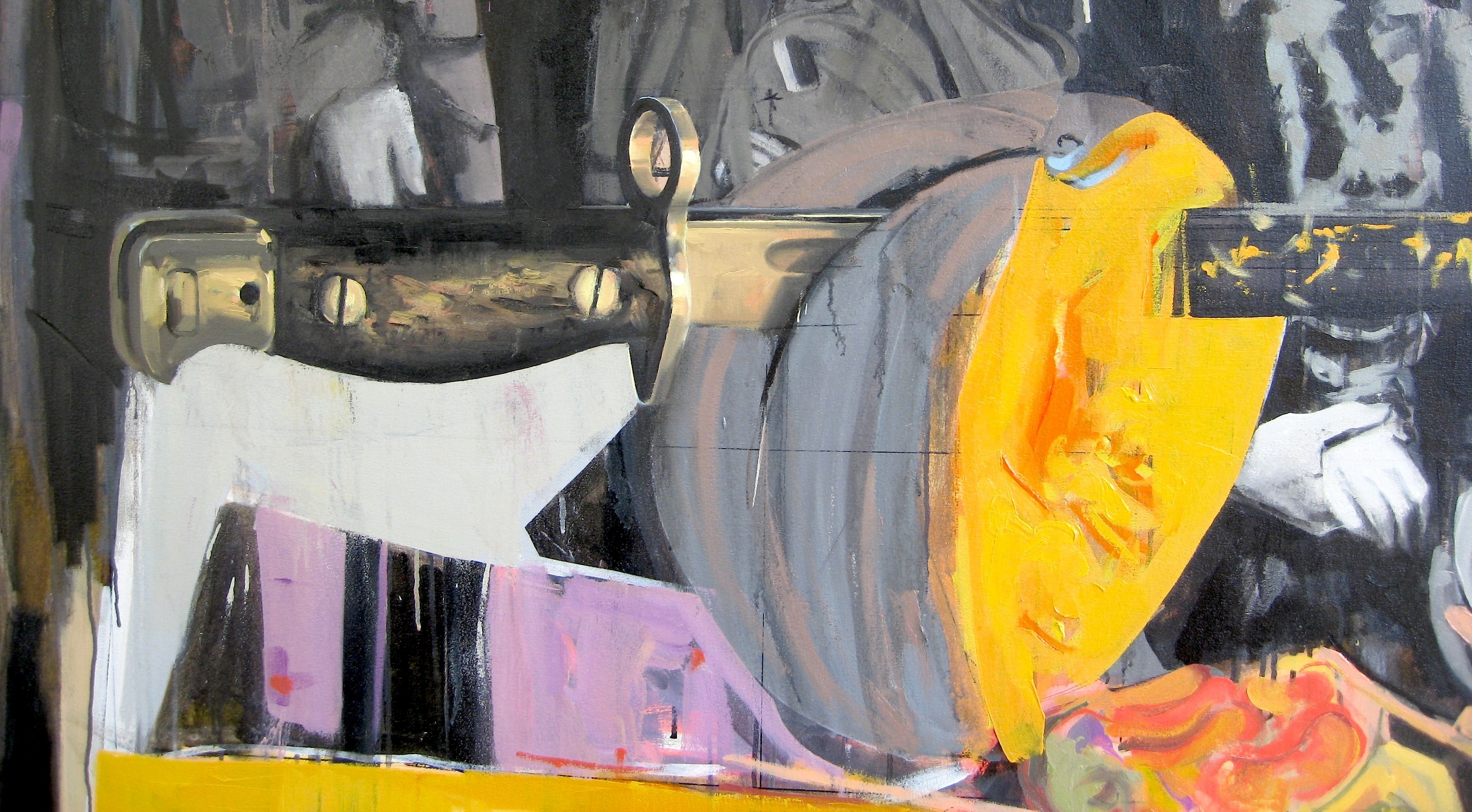 Michael Nay, Cleave - Clasp 2016 (detail), oil on canvas, 2010 x 1830 mm