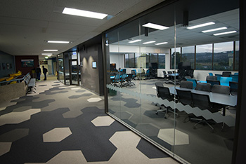 Hallway with black and blue geometric pattered carpet with modern collaborative study space visible through glass wall.