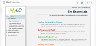 screenshot of online resource 'The Essentials' situated within a MyLO site