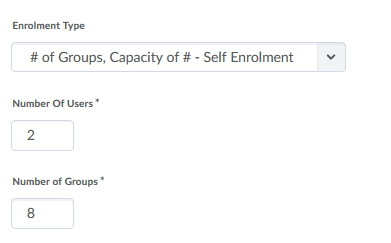 Choose the number of groups, self  Enrolment type