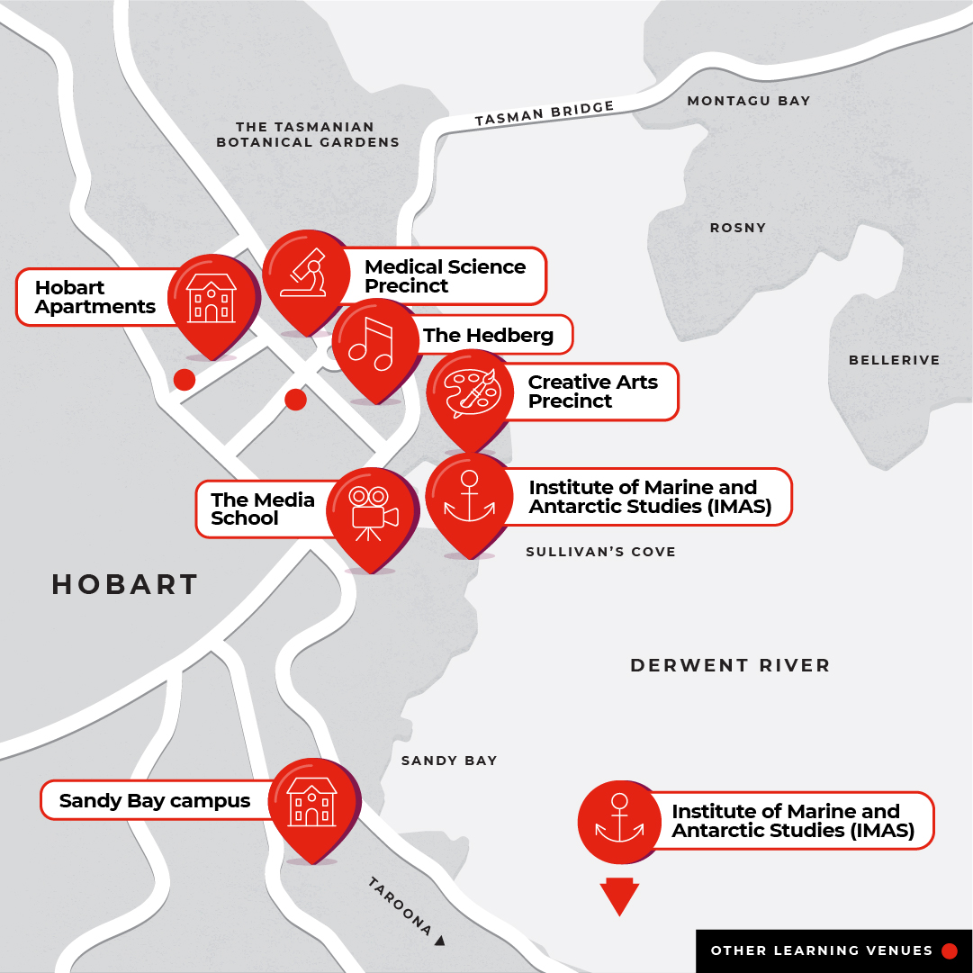 Map showing all Hobart campuses, Sandy Bay, IMAS, Creative Arts and Media, Medical Science Precinct, Hobart Apartments and the Hedburg.