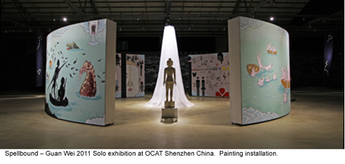 Image: Spellbound - Guan Wei 2011 Solo exhibition at OCAT Shenzen China. Painting installation.
