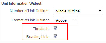 Add or remove links to the timetable and Reading lists