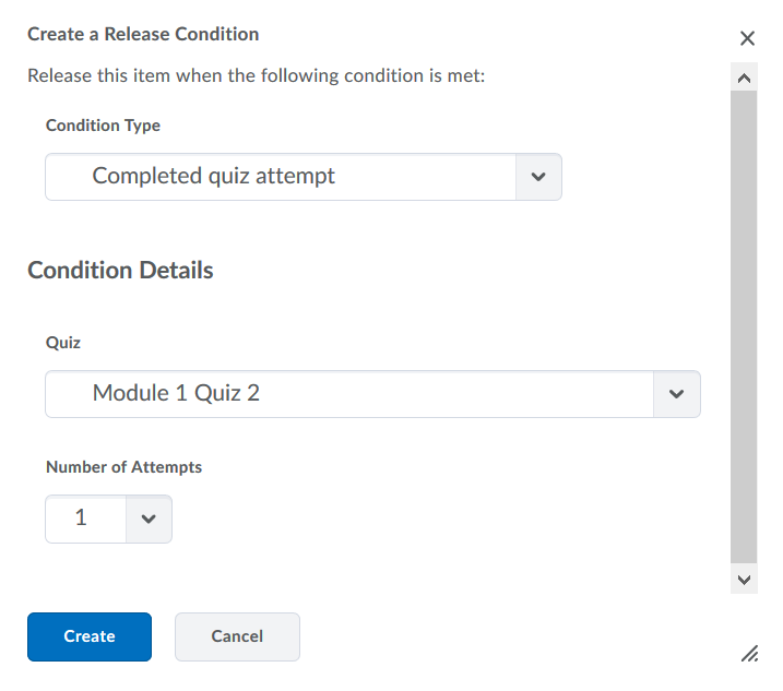 Set release conditions