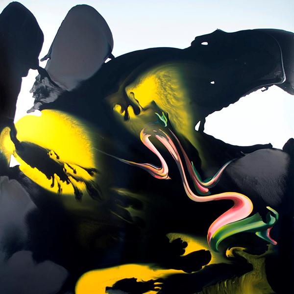 Image credit: Megan Walch, The Spill Suite (Yellow versus Black), 2016. Oil and enamel on composite panel, 150 x 150 cm. Photograph Jan Dallas