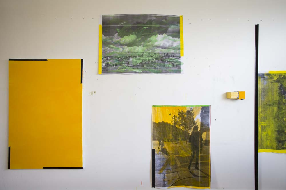 David Thomas' studio wall  Studies for Tasmania. 2017
