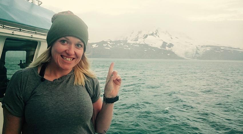 Erica Spain on board the Rv Investigator off Heard Island in Jan 2016. Image courtesy Erica Spain