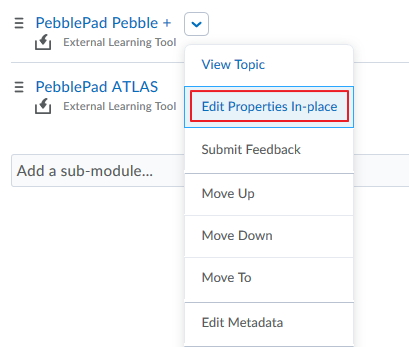Select Edit Properties in place