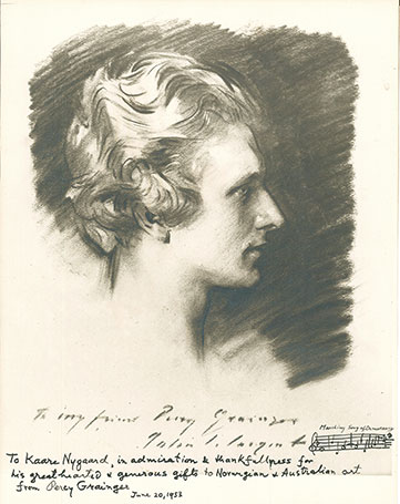 Photographic reproduction on card of John Singer Sargent's portrait of Percy Grainger.