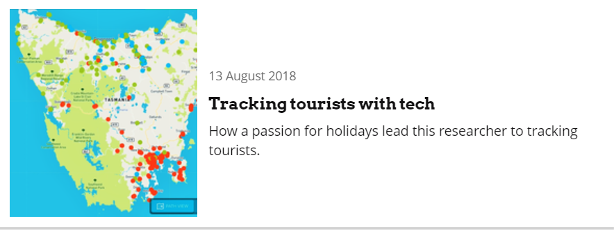 Tracking tourists with tech, 13 August 2018