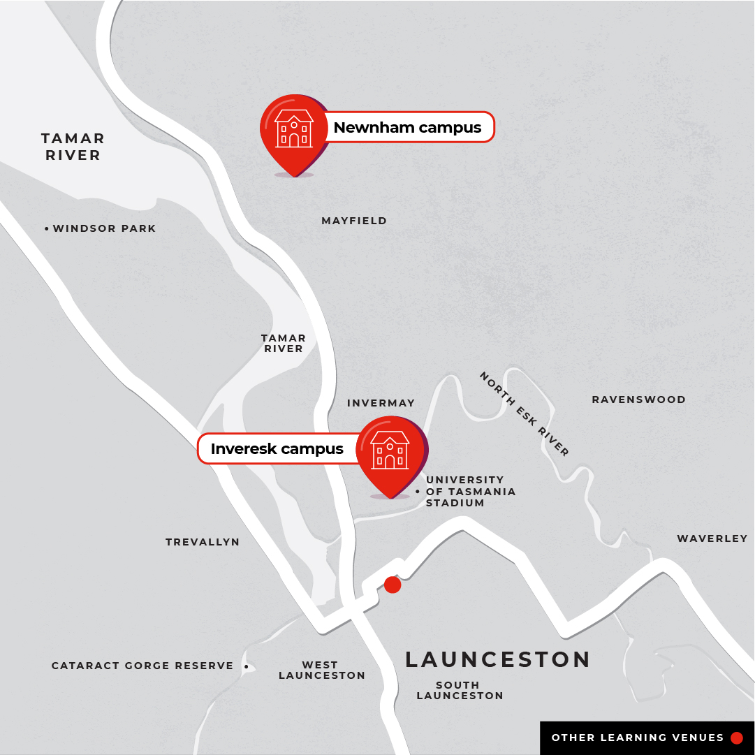 Map showing Launceston campuses, Newnham and Inveresk.