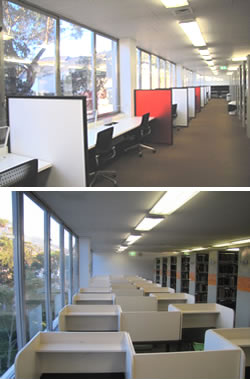 Level 4 Silent Study areas in the Morris Miller Library
