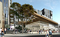 artist's impression of contemporary building with cafe and people walking nearby