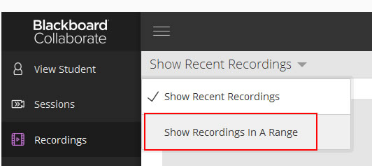 Select Show recordings in a range