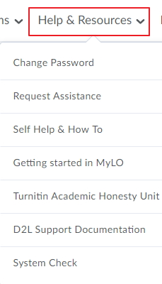 Help and Resources from MyLO Landing page
