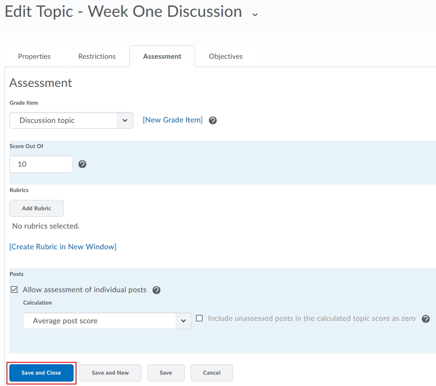 Discussion - Topic Assessment