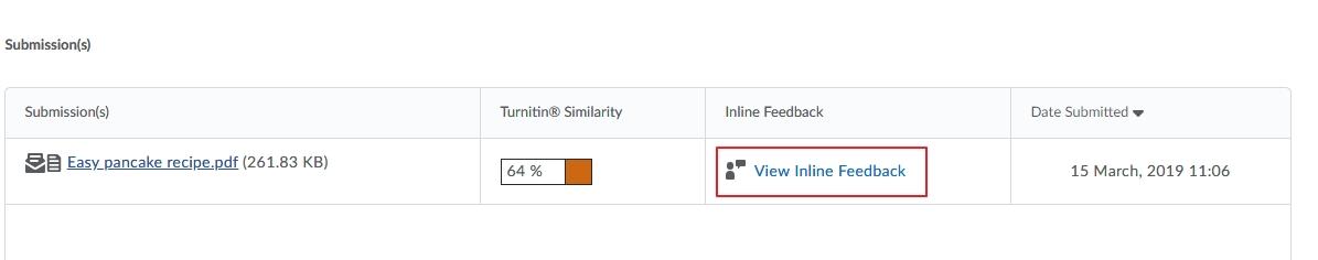 View inline Feedback