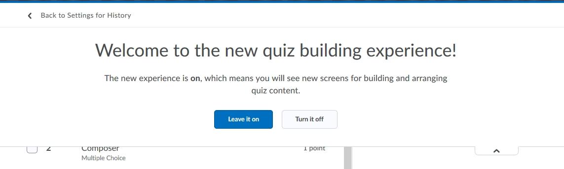 New Quiz Expereince message