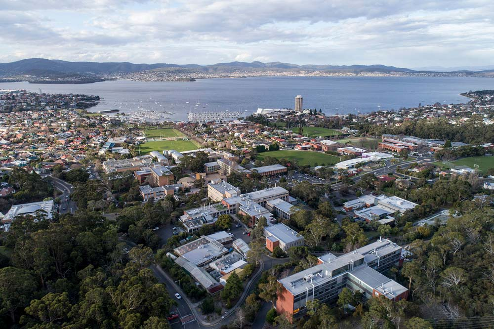 Aerial view of Sandy Bay campus and surrounding area,