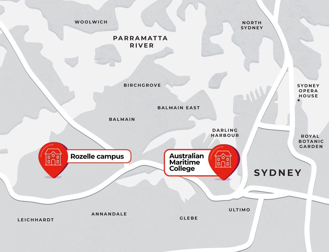 Map showing Sydney campuses, Rozelle and Maritime Training.