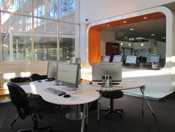 Three computers available for booking in the Morris Miller Library
