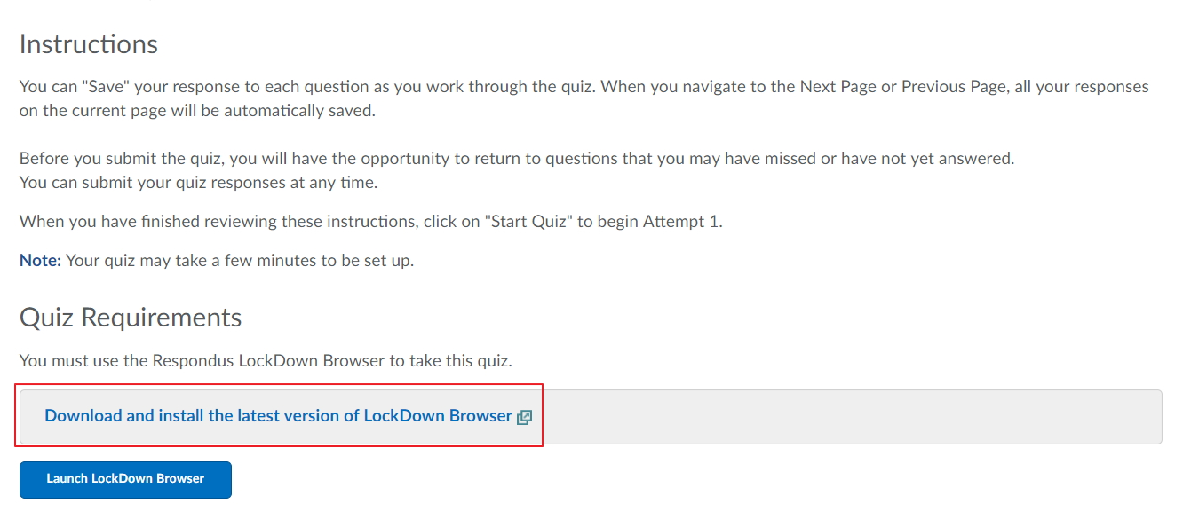 Download Lockdown browser from within your unit