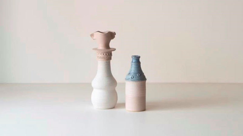 Image Credit: Damon Moon, #22 Retro-Modernist Series, Tribute to Bernard Sahm, 2016, stoneware vase 370 x 130mm, #10 Retro-Modernist Series, Completely rat- arsed at an après-ski in the Tirol, Stoneware vase, 165 x 100mm, 2016. Photo: Anna Fenech Harris