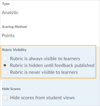 Figure: Rubric visibility options in a rubric