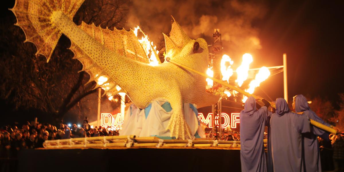 Cermonial ogoh-ogoh monster burning at the Dark Mofo Festival