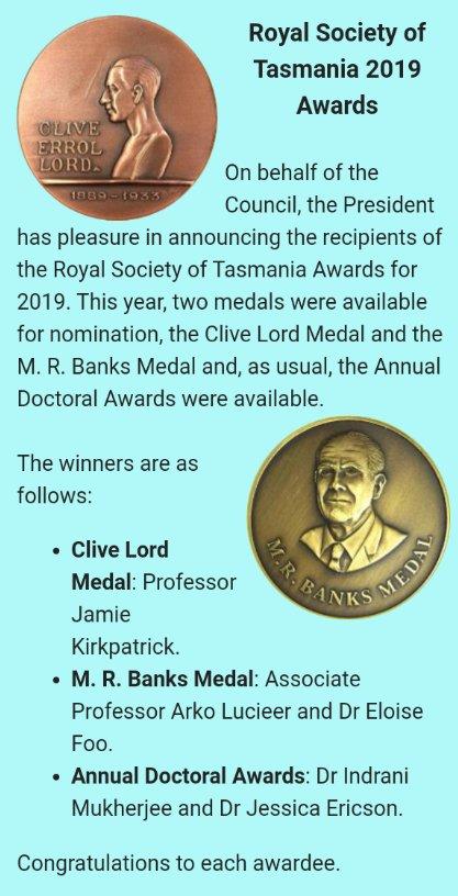 The royal society of Tasmania awards