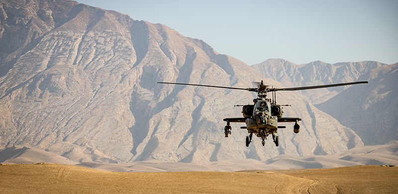 Photo of helicopter in dessert