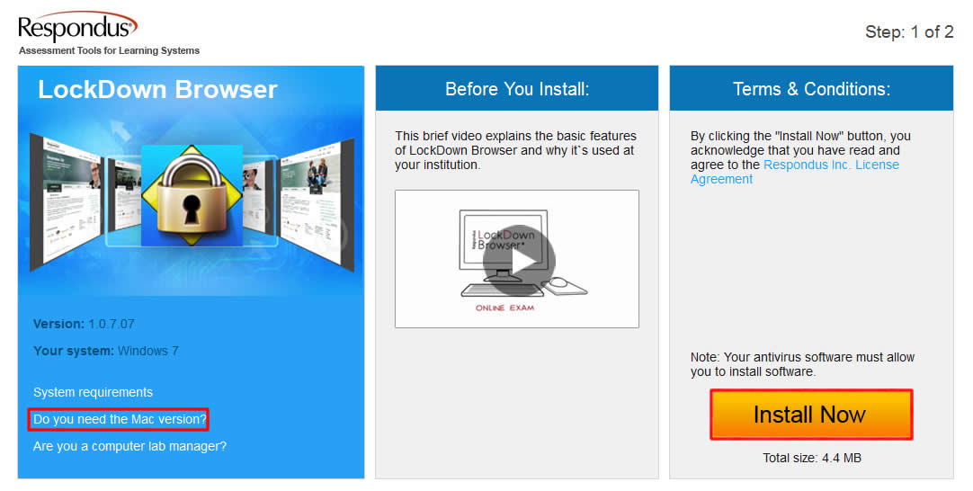 Choose the LockDown browser version you need to install