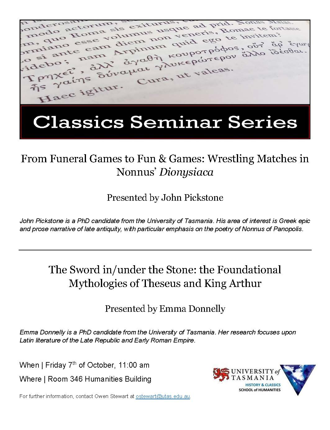 Classics Seminar - Wrestling and the Sword