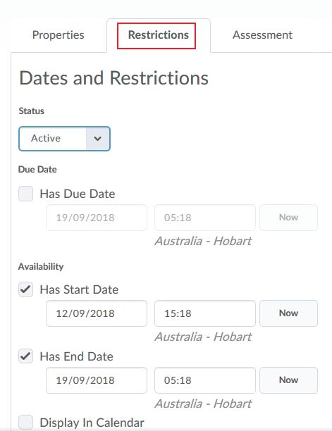 Quiz - Restrictions tab