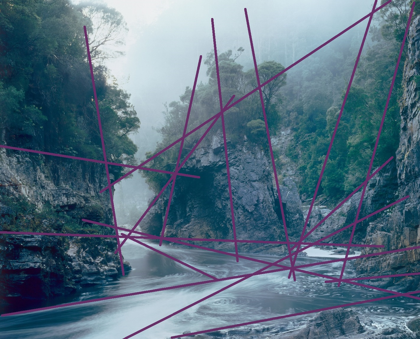 Alex Thomson, Angles 17, Drawn digital image (dimensions variable), from Peter Dombrovskis (1979), Rock Island Bend, Franklin River, South West Tasmania