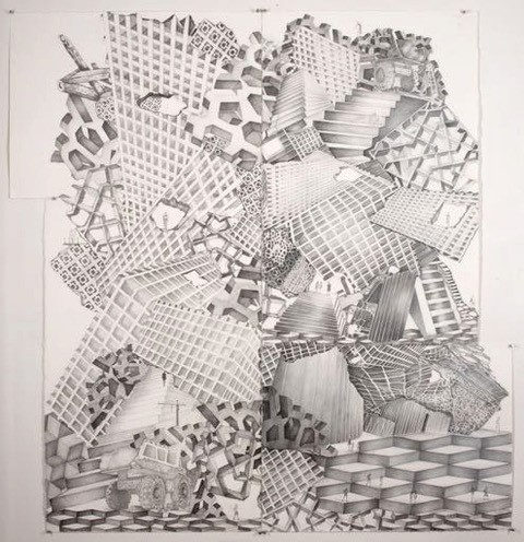 An Artist's Impression of MONA as a Ruin 2, silver coloured pencil and graphite pencil on paper,160 x142 cm, 2016