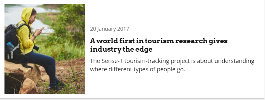 A world first in tourism research gives industry the edge, 20 January 2017