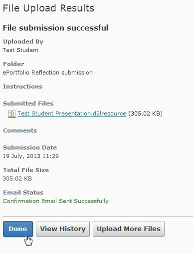 Screen shot of the File Upload Results page.